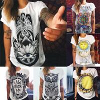 Fashion Boho Women Casual Summer Short Sleeve Cartoon Cotton T-Shirt Blouse Tops