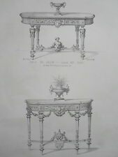 Table de Salon dorées  Louis XIV GRAVURE le GARDE-MEUBLE WALTER XIXéme