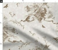 Toile Beige Flowers Floral Bees Birds Spoonflower Fabric by the Yard