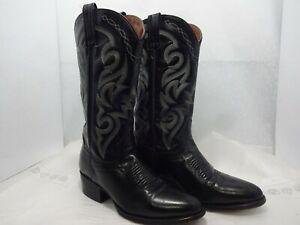 Dan Post Men's Size 7 D Black Leather Cowboy Western Embroidery Boots Shoes