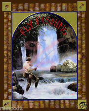 Fishing Poster - Outdoor fly fishing - Vintage Reproduction -16x20 inch Fishing