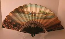 Antique Vintage Hand Painted Folding Fan And Box