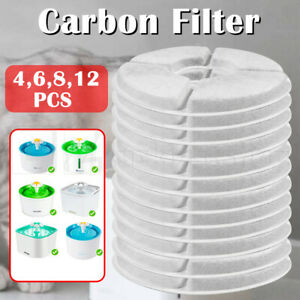4-12Pcs Carbon Filters Water Fountain Replacement For Pet Dog Cat Water Drinking