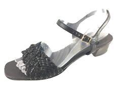 53a618abe639 SH28 Salvatore Ferragamo US 8AAA Black Leather Ankle Strap Block Heel  Sandals