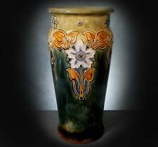STUNNING, LARGE DOULTON LAMBETH TUBE LINED ARTS & CRAFTS VASE by  MINNIE WEBB