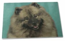 More details for keeshond dog extra large toughened glass cutting, chopping board, ad-kee1gcbl