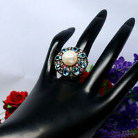 NATURAL 12 mm. ROUND WHITE PEARL TOPAZ & TOURMALINE RING 925 STERLING SILVER