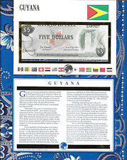 E Banknotes of All Nations Guyana 1989  5 Dollars P22e sign 7  UNC prefix A/32