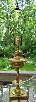 Vintage Tall Aged Brass Table Lamp, Bedside Light, Gold Color High Accent Decor
