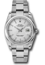 Rolex Datejust 36mm Smooth Stainless Steel Watch Silver Stick Dial Oyster 116200