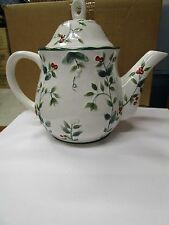 Pfaltzgraff Winterberry Sculpted Teapot . 5 cup White w/ red and green design .