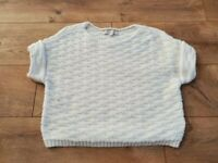 Ann Taylor LOFT Open Knit Cropped Textured Sweater Top Ivory Size Small