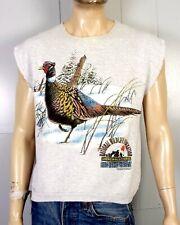 vtg 80s Ring-Necked Pheasant Cutoff Sweatshirt National Wildlife Federation sz L
