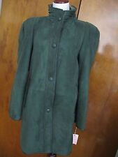 Womens Green Sheep Fur Mid Long Adarcrea Winter Coat Made In Spain 10 NWT