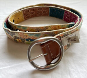 Fossil Multicolor Patchwork Reversible Suede Canvas Silver Buckle Women Large
