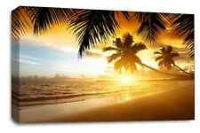 Large Sunset Beach Golden Sand Palm Tree Canvas Wall Art Picture Print 20 x 30""