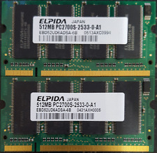 1GB ( 2X 512MB) DDR, 333 PC2700 Laptop Memory Elpida