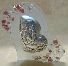 CUORE VETRO DI MURANO con bambino e angelo colore rosa  cod.11575