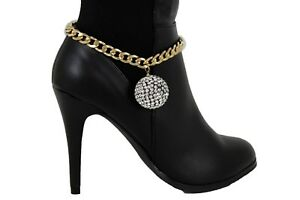 Women Gold Metal Chain Boot Bracelet Shoe Anklet 80's Disco Ball Bling Charm Hot