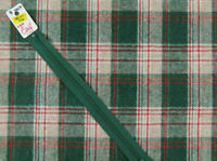 "Vintage Wool Blend Fabric Green Red Taupe Plaid 2 yards x 56"" wide"