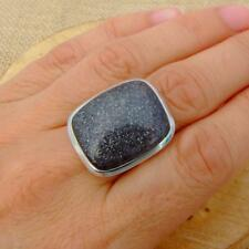 Black Sunstone 925 Sterling Silver Ring UK Size P 1/2-US 8 Indian Jewellery