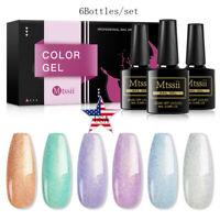 MTSSII 6Bottles Glitter UV Gel Nail Polish Soak Off Nail Art Varnish Set Tips US