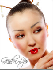 Xotic Exotic Eyes Lip Kisses Red Geisha Glitter & Crystal Stick on Tattoo Lips
