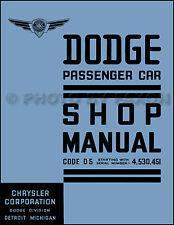 1937 Dodge Auto Manuale di Negozio 37 D5 Servizio Riparazione con Wiring