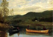"""Dream-art hand paint Oil painting summer landscape Men in Two Canoes canvas 36"""""""