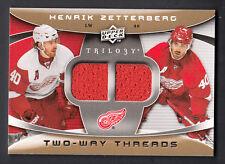 Henrik Zetterberg 2008-09 Upper Deck Trilogy Two Way Threads Dual Jersey Card