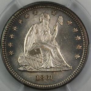 1861 Seated Liberty Quarter, PCGS MS-64 *Gem Coin* Civil War Silver