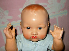 """Antique 24"""" Marked Dollies 6 British All Composition Baby Doll With Glass Eyes"""