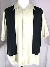 Nat Nast Luxury Silk Shirt Short Sleeve Mens size Large Black / Beige