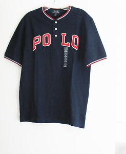Polo Ralph Lauren Boys Cotton Mesh Short Sleeve Henley Shirt Navy Sz M (10-12)