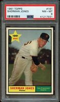 1961 Topps BB Card #161 Sherman Jones Giants ROOKIE CARD PSA NM-MT 8 !!!!