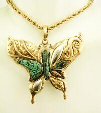 """Joan Rivers  Enamel  Butterfly  Pendant Necklace 18"""" 3"""" ext"""