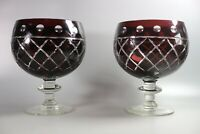 Large Pair of Bohemian Glass Goblets 21cm