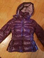 EUC girls ADD DOWN winter down purple jacket with hood size XS 8-12 years
