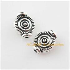 30Pcs Tibetan Silver Tone Round Charms Spacer Beads 7.5x9.5mm
