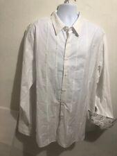 Tulliano  BUTTON SHIRT XXL WHITE GRAY Paisley FLIP CUFF Formal Wear