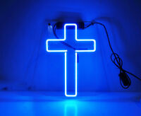 "12""x8""Cross Neon Sign Light Beer Bar Pub Wall Poster Jesus Home Room Decor Gift"
