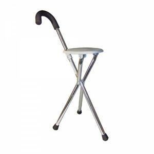 Gehstock mit Sitzfläche Sitzstock Stuhl Hocker Camping klappbar Aluminium RFM