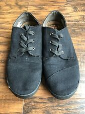 Womens TOMS Black Canvas Solid All Flat Lace Up Skate Tennis Shoes Sz W7.5