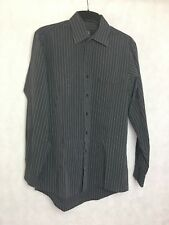 Calvin Klein Mens Shirt Size M Regular Fit Grey Long Sleeve Formal Striped Shirt