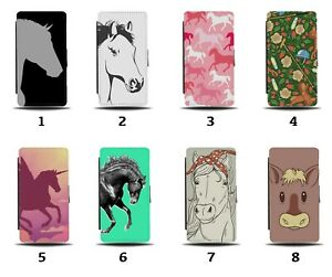 Horse Flip Wallet Case Horses Face Pony Ponies Stallion Galloping Pink 8031d