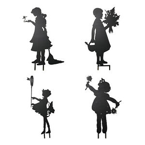 Cute Iron Fairy Silhouette Garden Stake Plant Flower Girl Ornament Gifts