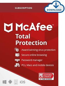 McAfee Total Protection Premium Subscription Key - Unlimited Device 1 to 3 year
