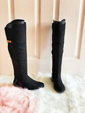 Women Knee High Flat Ladies Long Faux Suede Buckle Zip Thigh High Boots Size 3-8