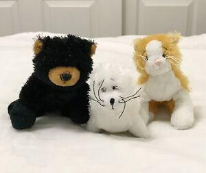 Ganz, Webkinz Lil' Kinz Lot of 3 Loose Animal Plush, Bear Cat and Seal, No Code