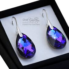 925 Sterling Silver Earrings/Set Crystals from Swarovski® 22mm Pear Heliotrope